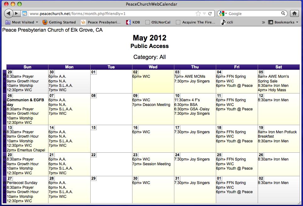 Web Calendar image.