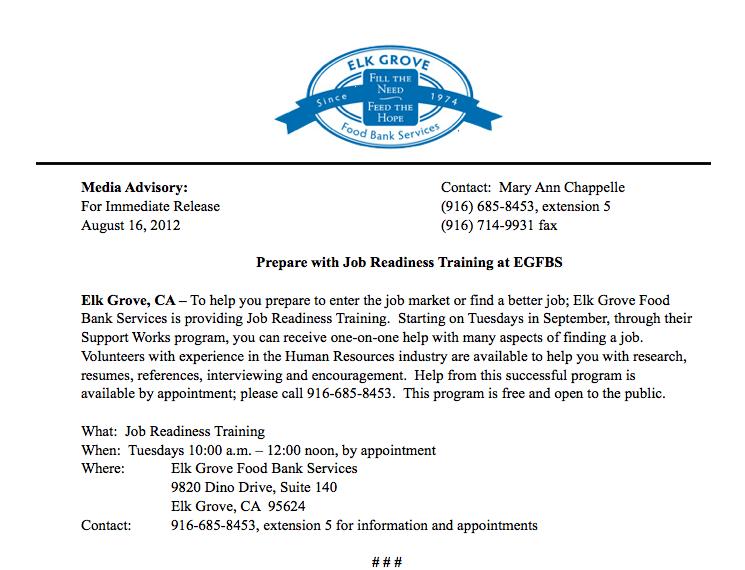 Elk Grove Food Bank - Job Readiness Press Release image.